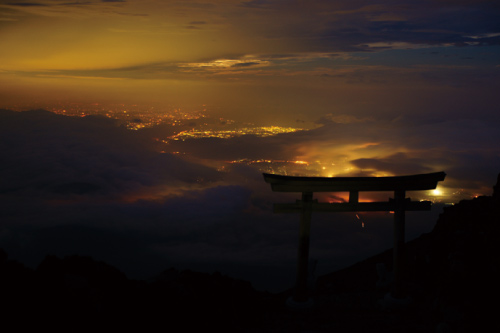 Lights seen from the top of Mount Fuji